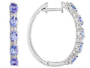 Pre-Owned Blue tanzanite rhodium over silver 5-stone hoop earrings 3.60ctw
