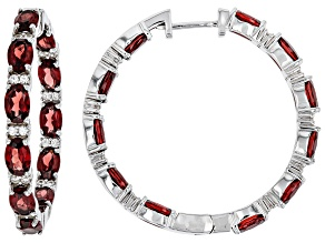 Pre-Owned Red Garnet Sterling Silver Hoop Earrings 12.75ctw