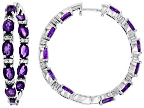 Pre-Owned  Amethyst  sterling silver hoop earrings 9.99ctw