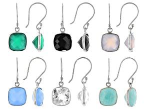 Pre-Owned Multiple Color Sterling Silver Set Of 6 Dangle Earrings