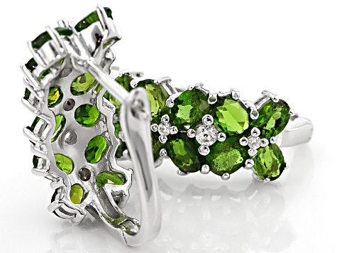 Pre-Owned Green Russian Chrome Diopside Sterling Silver Hoop Earrings 4.02ctw