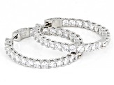 Pre-Owned White Cubic Zirconia Rhodium Over Sterling Silver Inside Out Hoop Earrings 9.50ctw