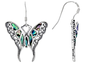 Pre-Owned Abalone Shell Rhodium Over Silver Butterfly Earrings