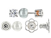 Pre-Owned Pearl Simulant And White Cubic Zirconia Silver And 18k Rose Gold Over Silver Stud Earrings