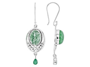 Pre-Owned Green Aventurine Quartz Sterling Silver Earrings .54ctw