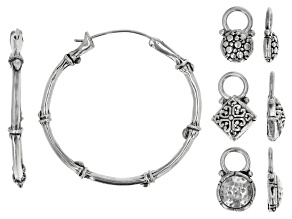 Pre-Owned Sterling Silver Hoop Earrings With Three Interchangeable Charms