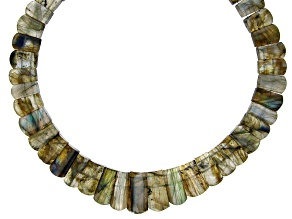 """Pre-Owned Labradorite Appx 12x9mm-22x11mm Graduated Collar Bead Strand Appx 17-18"""""""
