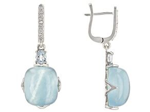 Pre-Owned Blue Aquamarine Rhodium Over Sterling Silver Earrings 0.61ctw