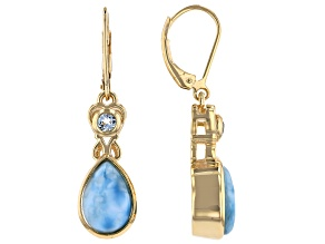Pre-Owned Blue Larimar 18k Gold Over Silver Earrings 0.26ctw