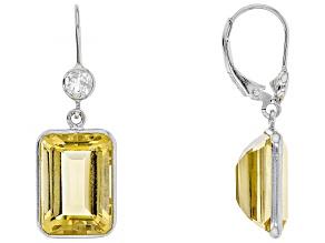 Pre-Owned Yellow Brazilian Ctirine Sterling Silver Dangle Earrings 15.00ctw