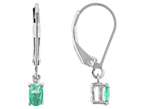 Pre-Owned Colombian Emerald Rhodium Over Silver Earrings .38ctw