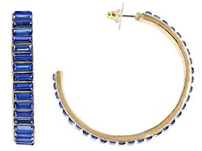"""Pre-Owned Gold Tone Blue Crystal Hoop Earrings"""""""