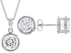 Pre-Owned White Cubic Zirconia Rhodium Over Sterling Silver Pendant With Chain And Earrings 8.91ctw