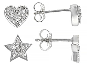 Pre-Owned White Diamond Rhodium Over Sterling Silver Heart And Star Stud Earring Jewelry Set 0.25ctw