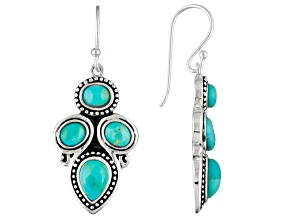Pre-Owned Blue Turquoise Rhodium Over Sterling Silver Dangle Earrings