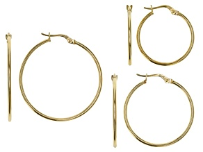 Pre-Owned 18K Yellow Gold Over Sterling Silver Set of 3 20MM-25MM-30MM Hoop Earrings