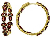 Pre-Owned Red garnet 18k yellow gold over silver earrings 11.80ctw