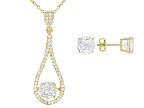 Pre-Owned White Cubic Zirconia 18K Yellow Gold Over Silver Pendant With Chain and Earrings 9.39ctw