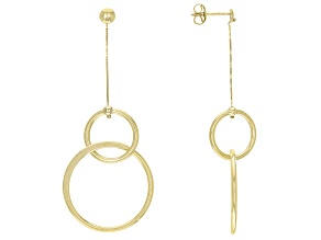Pre-Owned 10K Yellow Gold Two-Tiered Circle Drop Earrings