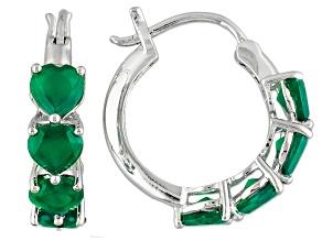Pre-Owned Green Onyx Sterling Silver Heart Shape Hoop Earrings