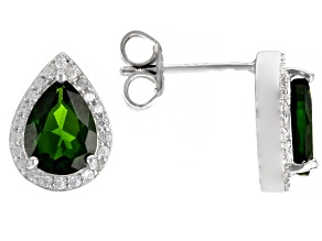 Pre-Owned Scott's Holiday Collection Green Chrome Diopside Platinum Over Sterling Silver Stud Earrin