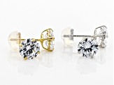 Pre-Owned White Cubic Zirconia 14k Yg And Wg Earrings Set Of 2 5.60ctw