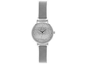 Pre-Owned Ladies Silver Tone Stainless Steel Mesh Band With Magnetic Clasp & Crystal Watch