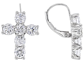 Pre-Owned White Cubic Zirconia Rhodium Over Sterling Silver Cross Earrings 5.38ctw