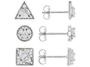 Pre-Owned White Cubic Zirconia Rhodium Over Sterling Silver Earrings- Set of 3 3.69ctw