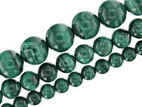 """Pre-Owned Malachite Appx 4, 6, & 8mm Round Bead Strand Set of 3 Appx 15-16"""" in length"""