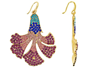 Pre-Owned Multicolor Crystal Gold Tone Floral Dangle Earrings