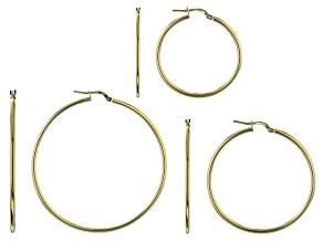 Pre-Owned Moda Al Massimo™ 18K Yellow Gold Over Bronze Set of 3 35MM-45MM-55MM Tube Hoop Earrings