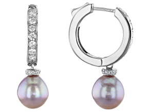 Pre-Owned Lavender Cultured Kasumiga Pearl & Cubic Zirconia 2.26ctw Rhodium Over Sterling Silver Ear