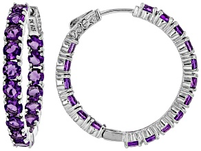 Pre-Owned Purple Amethyst Rhodium Over Silver Inside/Outside Hoop Earrings 7.23ctw