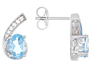 Pre-Owned Swiss Blue Topaz 10K White Gold Earrings 2.30ctw