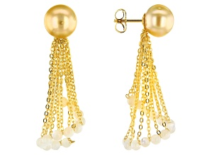 Pre-Owned Cultured South Sea Mother-of-Pearl & Pearl 18k Yellow Gold Over Sterling Silver Dangle Ear