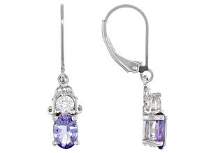 Pre-Owned Blue Tanzanite Rhodium Over Sterling Silver Earrings 1.77ctw