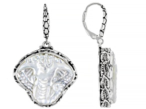 Pre-Owned White Mother Of Pearl Elephant Sterling Silver Earrings