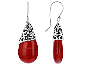 Pre-Owned Red Sponge Coral Rhodium Over Sterling Silver Earrings