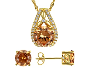 Pre-Owned Champagne And White Cubic Zirconia 18K Yellow Gold Over Silver Pendant With Chain And Earr