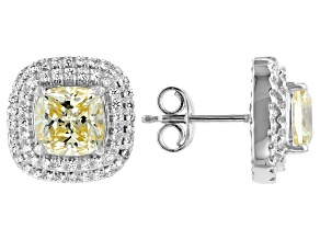 Pre-Owned Yellow And White Cubic Zirconia Rhodium Over Sterling Silver Earrings 6.55ctw