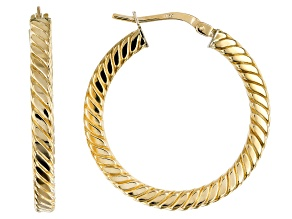 Pre-Owned 10k Yellow Gold 20mm Square Cable Tube Hoop Earrings