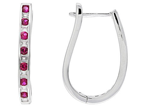 Pre-Owned Red Synthetic Corundum And White Cubic Zirconia Rhodium Over Sterling Silver Earrings 1.31