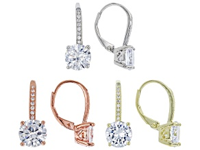 Pre-Owned White Cubic Zirconia 18k Rg/Yg And Rhodium Over Sterling Silver Earrings 17.40ctw
