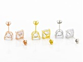 Pre-Owned White Cubic Zirconia Rhodium Over Silver And 18k Yellow Gold And Rose Gold Earrings 21.00c