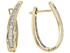 Pre-Owned White Diamond 10K Yellow Gold Hoop Earrings 1.00ctw