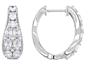 Pre-Owned White Cubic Zirconia Rhodium Over Sterling Silver Hoop Earrings 5.36ctw