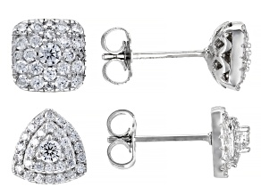 Pre-Owned Bella Luce ® 1.99ctw White Cubic Zirconia Rhodium Over Sterling Silver Earrring- Set of 2