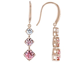 Pre-Owned Multicolor Zirconia From Swarovski ® 18k Rose Gold Over Sterling Silver Earrings 2.71ctw