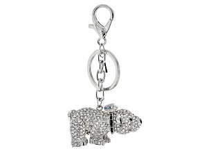 Pre-Owned Multicolor Crystal Black Enamel Silver Tone Polar Bear Keychain